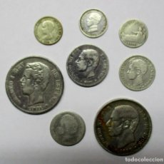 Monedas de España: CONJUNTO DE 8 MONEDAS ESPAÑOLAS ANTIGUAS EN PLATA. LOTE 0809. Lote 108869327