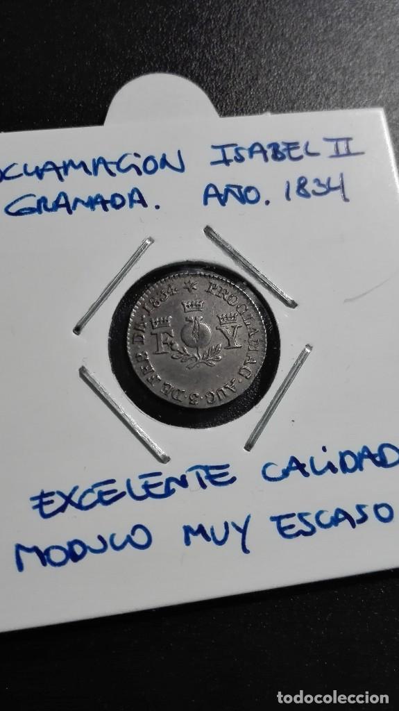Monedas de España: MONEDA PROCLAMACION ISABEL II GRANADA 1834 - Foto 3 - 109602447