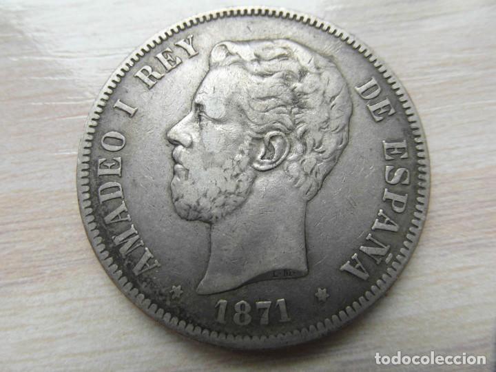 MONEDA DE 5 PESETAS AMADEO I REY 1871 (Numismática - España Modernas y Contemporáneas - De Isabel II (1.834) a Alfonso XIII (1.931))