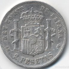 Monedas de España: LOTE 3 MONEDAS DE 2 PESETAS ALFONSO XII 1879 *18--.9,85 GRAMOS - 1881 9,56 GRAMOS Y 1882 9,55 GRAMOS. Lote 111407591
