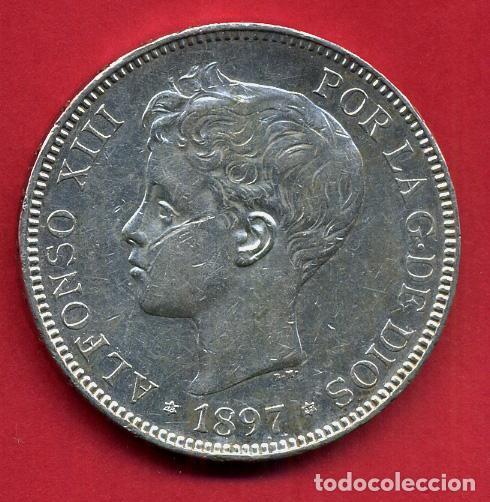 MONEDA 5 PESETAS 1897 ALFONSO XIII ,ESTRELLAS VISIBLES 18 97 , DURO DE PLATA , EBC- ,ORIGINAL, D2569 (Numismática - España Modernas y Contemporáneas - De Isabel II (1.834) a Alfonso XIII (1.931))