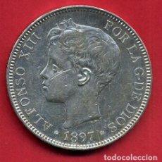 Monedas de España: MONEDA 5 PESETAS 1897 ALFONSO XIII ,ESTRELLAS VISIBLES 18 97 , DURO DE PLATA , EBC- ,ORIGINAL, D2569. Lote 111707143