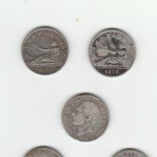 Monedas de España: LOTE DE 5 MONEDAS DE 2 PESETAS-1870 Y 1882. Lote 112528379