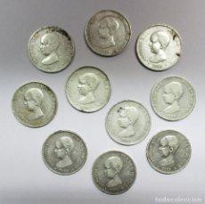 Monedas de España: CONJUNTO DE 10 MONEDAS DE 5 PESETAS DE PLATA DE ALFONSO XIII (PELON), AUTENTICAS . LOTE-0889. Lote 112896371