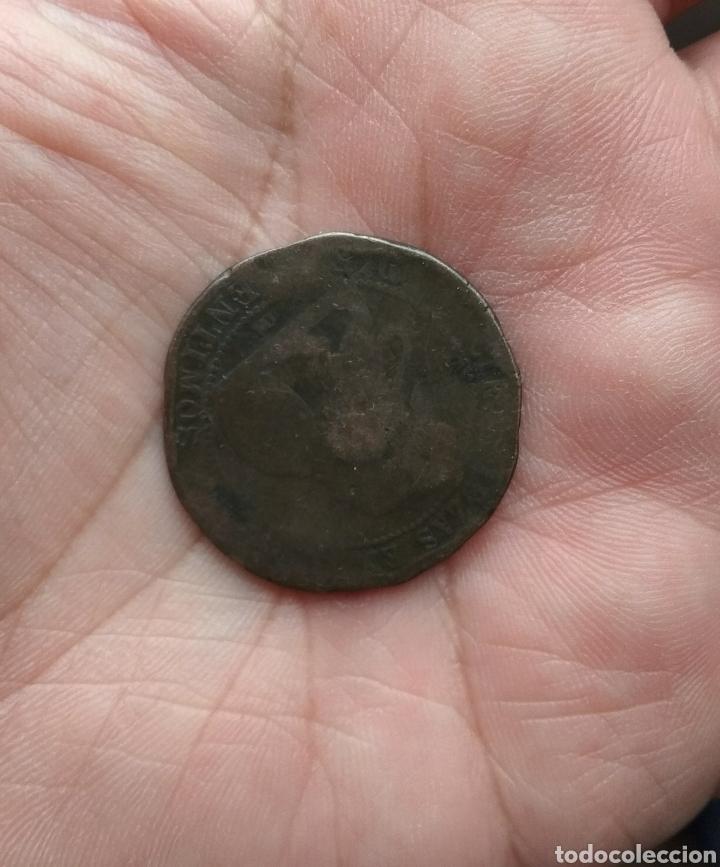 Monedas de España: Moneda de 10 céntimos 1870 con resello político CNT - Foto 2 - 113379487