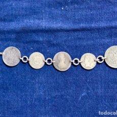 Monedas de España: PULSERA MONEDAS PLATA FERNANDO VII MEDALLA VALENCIA Y EXTRANJERAS MONTADA A PPIO S XX 19CMS. Lote 114352759