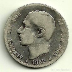 Monedas de España: ALFONSO XII. 1 PESETA DE 1882*(---82) MADRID MS-M (BC) PLATA. Lote 114358135