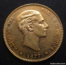 Monedas de España: 25 PESETAS 1877 *18*-*77* DE.M. ALFONSO XII -AU-. Lote 115295163