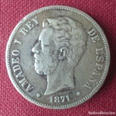Monedas de España: CINCO PESETAS PLATA AMADEO I 1871 *18 *75. Lote 115373923