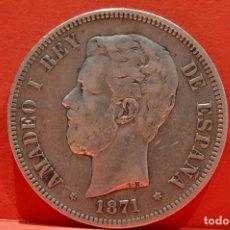 Monedas de España: 5 PESETAS 1871 *18 *75 AMADEO I PLATA ESPAÑA . Lote 57157962