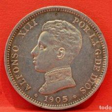 Monedas de España: 2 PESETAS 1905 S.M.V *19 *05 ALFONSO XIII PLATA ESPAÑA. Lote 52013956