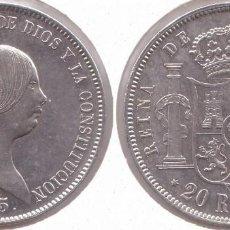 Monedas de España: ISABEL II : 20 REALES DE 1855 EN PLATA. EXCELENTE CONSERVACIÓN....(REF.207). Lote 116595443