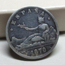 Monedas de España: 2 PESETAS DE PLATA DE 1870 - ESTRELLA 74. Lote 117242302