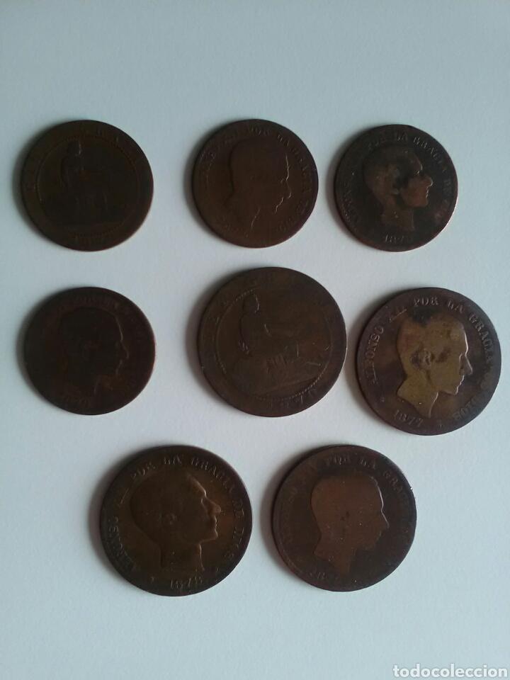 8 MONEDAS DE 5 Y 10 CÉNTIMOS . AÑOS 1870 A 1879 (Numismática - España Modernas y Contemporáneas - De Isabel II (1.834) a Alfonso XIII (1.931))