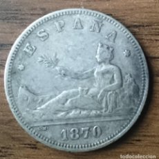 Monedas de España: 2 PESETAS PLATA 1870 SN M *70 AMBAS ESTRELLAS LEGIBLES. Lote 117984567