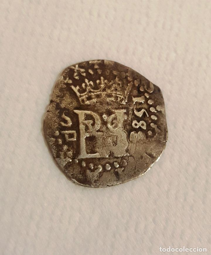 DIFICIL ASI 1/2 REAL. MEDIO REAL FELIPE II SEVILLA 1588 (Numismática - España Modernas y Contemporáneas - De Reyes Católicos (1.474) a Fernando VII (1.833))