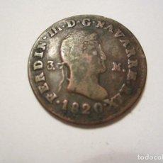Monedas de España: MONEDA DE 3 MARAVEDIS DE FERNANDO VII DE 1820 (NAVARRA) MUY RARA. Lote 122490071