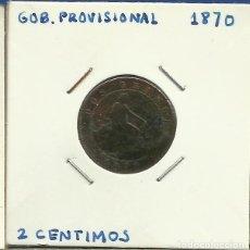 Monedas de España: GOBIERNO PROVISIONAL 2 CENTIMOS CU 1870 . Lote 122942687
