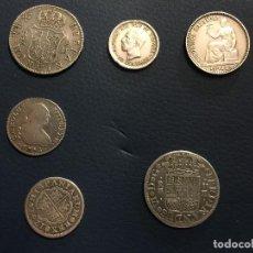 Monedas de España: LOTE 6 MONEDAS ESPAÑA PLATA ANTIGUAS. Lote 123312015