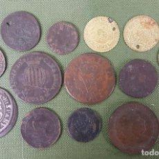 Monedas de España: COLECCION DE 15 MONEDAS DE METAL. VARIAS PROCEDENCIAS Y EPOCAS. SIGLO XIX. . Lote 123329503
