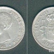 Monedas de España: 36--ESPAÑA-50 CÉNTIMOS DE PLATA-ALFONSO XIII (13), 1892,PGM ESTRELLAS 9-2--EBC. Lote 124528655