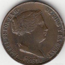 Monedas de España: ISABEL II: 25 CENTIMOS DE REAL 1861 SEGOVIA. Lote 125086027