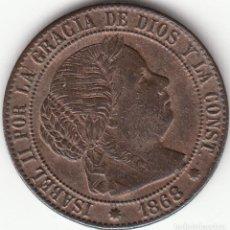 Monedas de España: ISABEL II: 1/2 CENTIMO DE ESCUDO 1868 OM BARCELONA. Lote 125199015