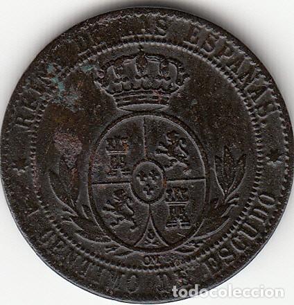 Monedas de España: ISABEL II: 1 CENTIMO DE ESCUDO 1868 OM SEVILLA - Foto 2 - 125270263