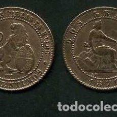 Monedas de España: ESPAÑA 2 CENTIMOS AÑO 1870 OM - MONEDA AUTENTICA ( TIO SENTADO - GOBIERNO PROVISIONAL - LEON ) Nº29. Lote 125328319