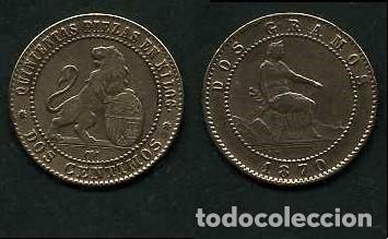 ESPAÑA 2 CENTIMOS AÑO 1870 OM - MONEDA AUTENTICA ( TIO SENTADO - GOBIERNO PROVISIONAL - LEON ) Nº30 (Numismática - España Modernas y Contemporáneas - De Isabel II (1.834) a Alfonso XIII (1.931))