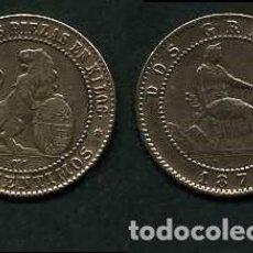 Monedas de España: ESPAÑA 2 CENTIMOS AÑO 1870 OM - MONEDA AUTENTICA ( TIO SENTADO - GOBIERNO PROVISIONAL - LEON ) Nº30. Lote 162638376