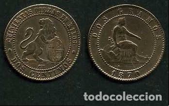 ESPAÑA 2 CENTIMOS AÑO 1870 OM - MONEDA AUTENTICA ( TIO SENTADO - GOBIERNO PROVISIONAL - LEON ) Nº33 (Numismática - España Modernas y Contemporáneas - De Isabel II (1.834) a Alfonso XIII (1.931))