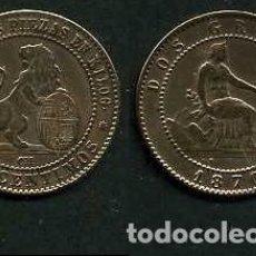 Monedas de España: ESPAÑA 2 CENTIMOS AÑO 1870 OM - MONEDA AUTENTICA ( TIO SENTADO - GOBIERNO PROVISIONAL - LEON ) Nº33. Lote 151003916