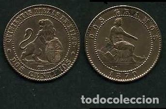 ESPAÑA 2 CENTIMOS AÑO 1870 OM - MONEDA AUTENTICA ( TIO SENTADO - GOBIERNO PROVISIONAL - LEON ) Nº38 (Numismática - España Modernas y Contemporáneas - De Isabel II (1.834) a Alfonso XIII (1.931))