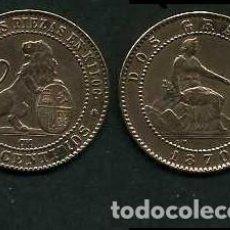 Monedas de España: ESPAÑA 2 CENTIMOS AÑO 1870 OM - MONEDA AUTENTICA ( TIO SENTADO - GOBIERNO PROVISIONAL - LEON ) Nº38. Lote 151004032
