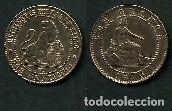 ESPAÑA 2 CENTIMOS AÑO 1870 OM - MONEDA AUTENTICA ( TIO SENTADO - GOBIERNO PROVISIONAL - LEON ) Nº41 (Numismática - España Modernas y Contemporáneas - De Isabel II (1.834) a Alfonso XIII (1.931))