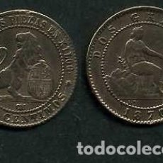 Monedas de España: ESPAÑA 2 CENTIMOS AÑO 1870 OM - MONEDA AUTENTICA ( TIO SENTADO - GOBIERNO PROVISIONAL - LEON ) Nº52. Lote 125335843