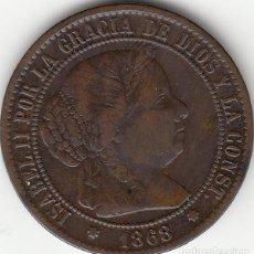 Monedas de España: ISABEL II: 2 1/2 CENTIMO ESCUDO 1868 OM SEVILLA. Lote 125915451