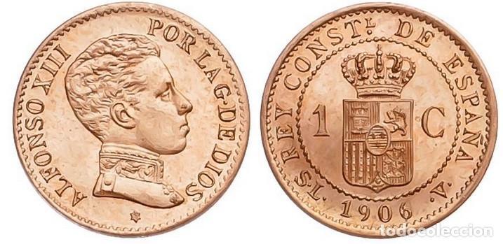 ALFONSO XIII -1 CÉNTIMO. 1906*6. MADRID. SLV. BRILLO Y COLOR ORIGINAL S/C DOBLE ACUÑACIÓN INCUSA (Numismática - España Modernas y Contemporáneas - De Isabel II (1.834) a Alfonso XIII (1.931))