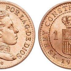 Monedas de España: ALFONSO XIII -1 CÉNTIMO. 1906*6. MADRID. SLV. BRILLO Y COLOR ORIGINAL S/C DOBLE ACUÑACIÓN INCUSA . Lote 126268851