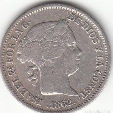 Monedas de España: ISABEL II: 1 REAL 1862 MADRID. Lote 126477203