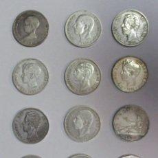 Monedas de España: 12 MONEDAS DE 5 PESETAS DE PLATA GOBIERNO PROVISIONAL, AMADEO I, ALFONSO XII, ALFONSO XIII LOTE-1118. Lote 127812251