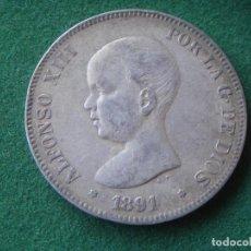 Monedas de España: 1891 (*18-91) PG M - 5 PESETAS PLATA - ALFONSO XIII. Lote 128318163