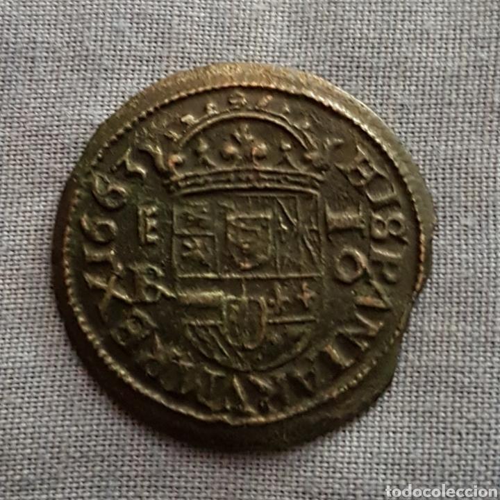 Monedas de España: 16 maravedis Felipe 4 1663 Segovia - Foto 2 - 128531094