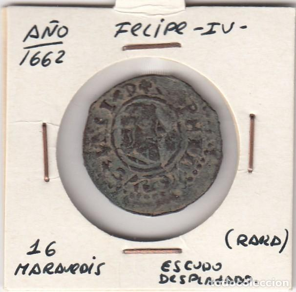MONEDA DEL REINADO DE FELIPE IV AÑO 1662 VALOR 16 MARAVEDIS COBRE (ERROR ACUÑACIÓN EN REVERSO). MBC+ (Numismática - España Modernas y Contemporáneas - De Reyes Católicos (1.474) a Fernando VII (1.833))