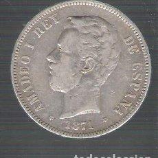Monedas de España: ESPAÑA.AMADEO I 5PESETAS PLATA 1871 *74 DEM.MUY BIEN CONSERVADA. Lote 128707743
