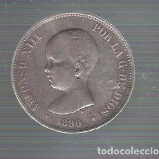 Monedas de España: ALFONSO XIII.5 PESETAS PLATA.AÑO 1890 *18 *90. MPM. Lote 128708207