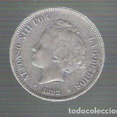 Monedas de España: ALFONSO XIII.5 PESETAS PLATA.AÑO 1892 *18 *92.PGM MUY BIEN CONSERVADA.. Lote 128708407