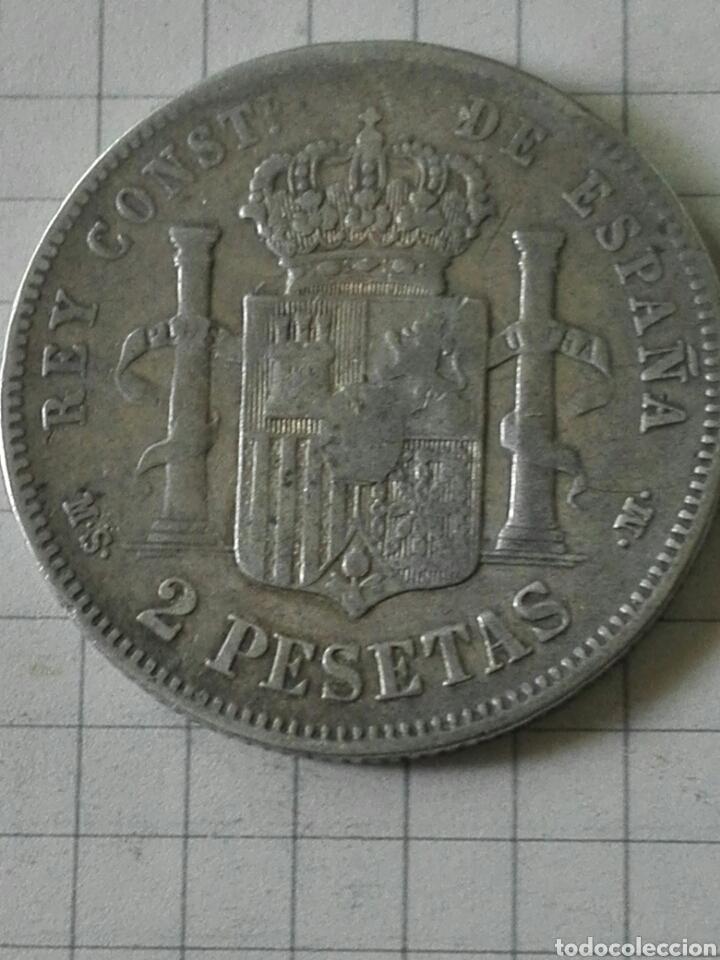 Monedas de España: MONEDA 2 PESETAS ALFONSO XII 1884 MSM - Foto 2 - 128788452