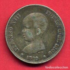 Monedas de España: MONEDA PLATA , 2 PESETAS ALFONSO XIII , 1889 ESTRELLAS VISIBLES 18 89 , MBC+ , ORIGINAL , B20. Lote 128816179